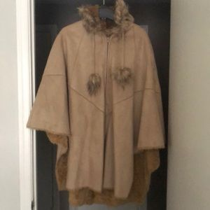 Faux Suede Hooded Poncho